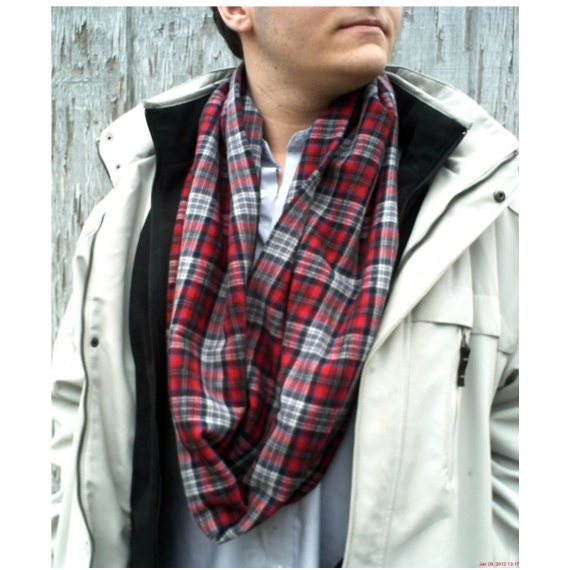 Mens Infinity Scarf, Super Soft Red Plaid Flannel Mens Scarf