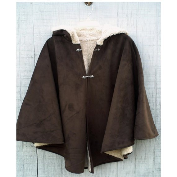 Hooded Cape Coat, Poncho or Cloak, Size Medium, Handmade Outerwear, Mens, Womens Cape, Chocolate Brown Faux Suede Medieval Costume on Sale