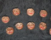 Lot 10 Vintage 1950s Small Plaster Alaska Eskimo Faces Painted Hair Eyes Smile For Dolls Magnets Pins Crafts Mini Face