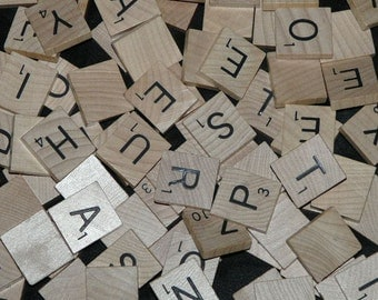 Bulk Scrabble Tile Lot 100 Wood Letters from 1 Game 3/4 in Square wooden black alphabet letters for jewelry crafts etc