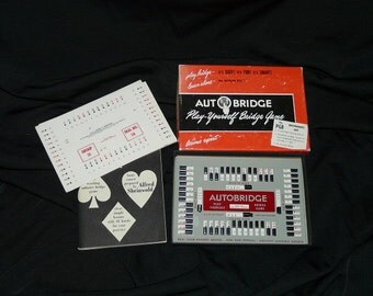 Vintage Autobridge Bridge Game Play Yourself Cards Master Contract Self Teaching Hands Solitare Basic Course in Box