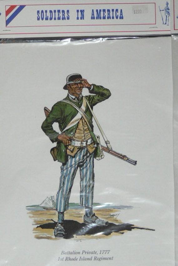 Lot 3 Historic Soldiers in America Color Prints Revolutionary War RI Regiment Battalion Lauzuns British Legion Trooper Foreign Volunteers