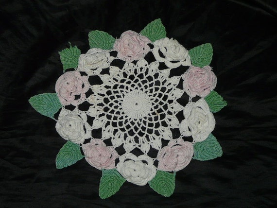 Vintage White Pink Rose Green Leaf Doily leaves flowers damaged for crafts upcycle or pattern crochet crocheted