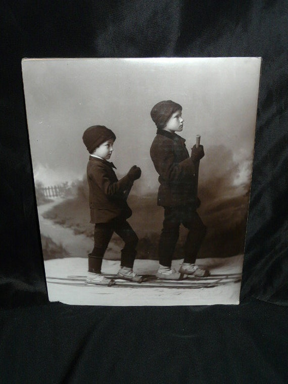 1880s Ski Brothers Skiing Boys Studio Photograph Reprint 11 x 14 in Hand Printed Black And White  Photo