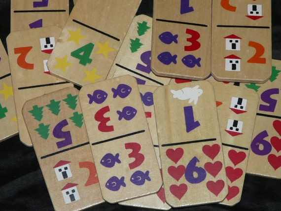 Lot Set 28 Wooden Picture Dominoes Painted Numbers Wood Childrens Learning Game Pavilion Trees House Rabbit Heart