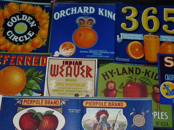Lot 8 Vintage Art Deco Lithograph Fruit Crate Labels Navajo Indian Statue Liberty Pears Oranges Apples Citrus 1920s CA Art Deco Ads