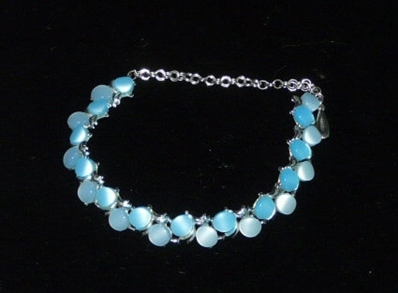 Vintage Bright Blue Oval Silver Tone Chain Link Choker Necklace 80s does 50s Jackie O Style Spring Summer Costume Jewelry DIY Broken Clasp
