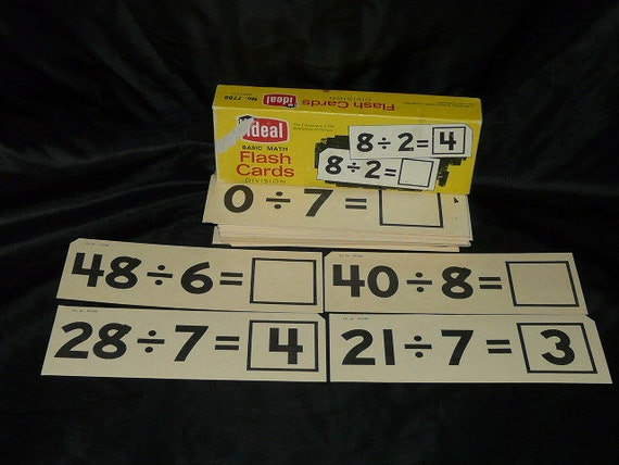 Vintage 1963 Ideal Division Flash Cards Basic Math Problems Teacher School Box Lot Teaching Set Paper Supply