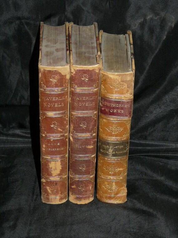 Lot 3 Antique Books 1890s Brown Leather Spine Waverly Novels Scarlet Letter Nathaniel Hawthorne Anne Geierstein Sir Walter Scott Kenilworth