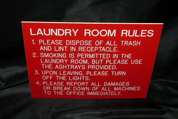 Vintage Red White Plastic Sign Laundry Room Rules Sign Smoking