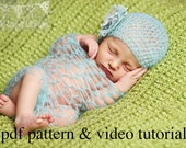 Crochet Pattern & Video Tutorial- Newborn Mohair Wrap and Hat Photography Props