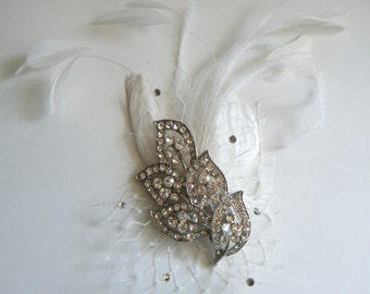 Fascinator Feather with crystal jewelled perfect for your special day