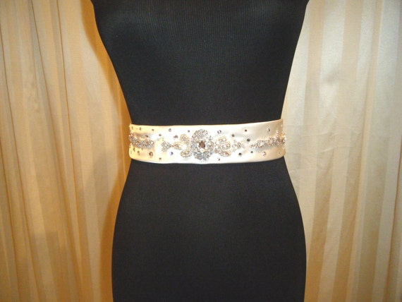 SUPER SAMPLE SALE :   Bridal Belt, jewelled, one-of-A-kind, Ivory satin hand crafted