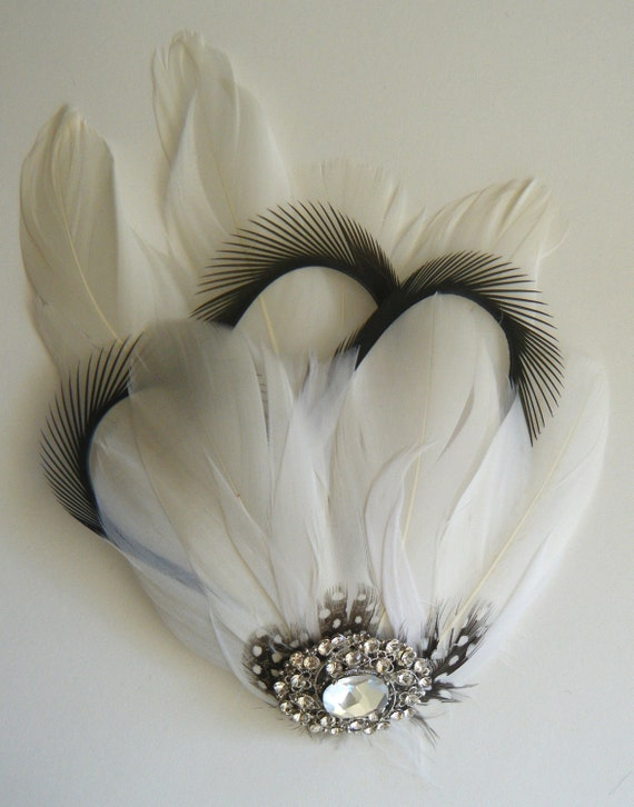 CLEARANCE Fascinator Feather with crystal jewelled perfect for your special day