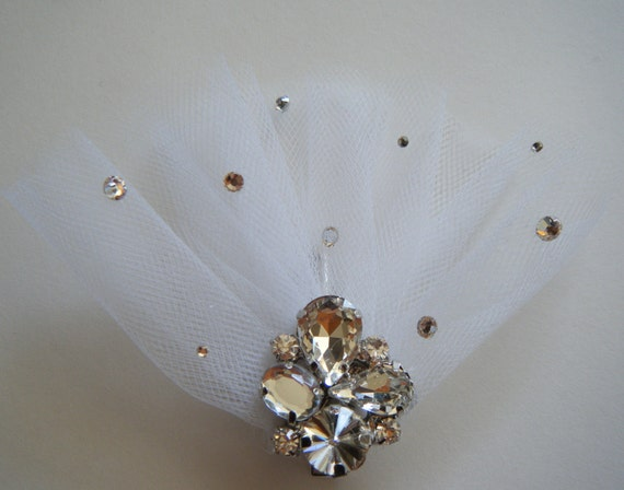 Vintage-inspired crystal headpiece handcrafted WHITE
