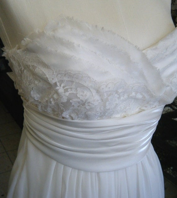 Clearance Sale, FUN Antique Lace & Chiffon Short Wedding Dress handcrafted in Canada