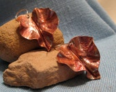 Rustic Copper Fold Form Leaf Earrings Gilded Fall Autumn Color Earthy Verdigris Natural Heat Patina Large Long Dangle