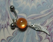 Orange Glass with angel wing Belly Ring - T50