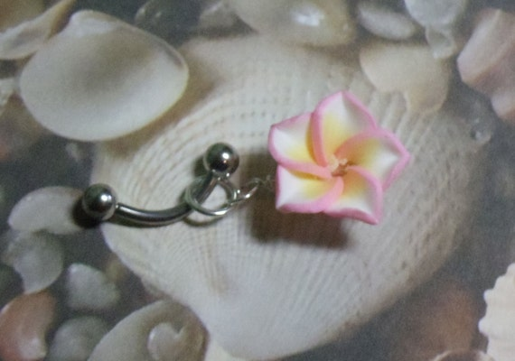 Pink Plumeria Belly Ring - free shipping - T42