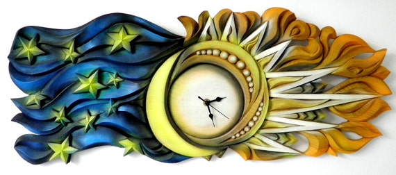 """Handmade, Wood Carved Clock   """"Cicle of  the Time"""""""