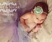 Aqua Shabby Frayed Chiffon Flower Rosette on Skinny Elastic Headband - Newborn Baby Toddler Girl - Photo Prop