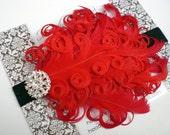 SHOP BEST SELLER - Stunning Rhinestone Red Curled Goose Feathers on Black Headband - Photo Prop - Newborn Baby Toddler - No Slip