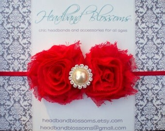 Petite Red Frayed Chiffon Flowers with Pearl Rhinestone on Skinny Elastic Headband - Newborn Baby Toddler - Valentine's Day - Photo Prop