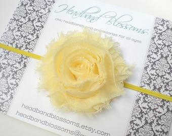Yellow Frayed Chiffon Flower Skinny Headband - Photo Prop - Newborn Infant Toddler - Baby Shower