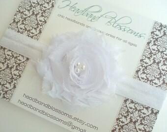 SHOP BEST SELLER - White Shabby Frayed Chiffon Flower Elastic Headband - Newborn Baby Girl - Photo Prop Baptism Christening - No Slip