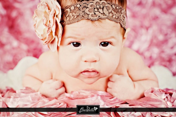Mauve Rhinestone Flower on Lace Headband or Hair Clip - Newborn Baby Girl - Wedding - Flower Girl - Photo Prop