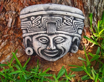 Aztec Mayan Face Mold Plastic Mold Plaster Concrete Cement ABS Plastic Mold New