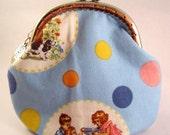 Fun with Dick and Jane - retro inspired kiss lock coin purse, pouch, mini clutch. FREE GIFT with purchase