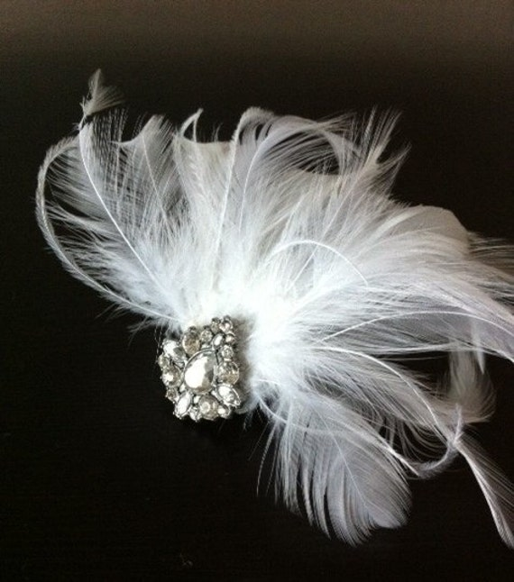 ANNE - White Feather Hair Clip / Fascinator with Sparkly Art Deco Pendant