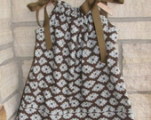 Chocolate and aqua pillowcase dress: girl's sizes 18 months to 7/8