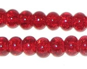 Red 6x8mm Glass Rondelle Crackle Beads Qty of 66