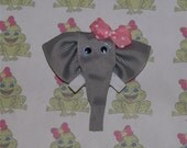Elise the Elephant Hair Clippie (Ribbon Sculpture) - Pink w/ White Dots Bow