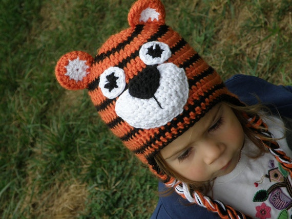 Items similar to Crochet tiger earflap hat on Etsy