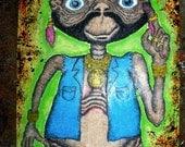Mr. ET Mr T meets E.T Simpsons, ink, crayon, paint