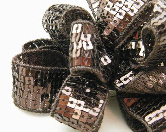 Chocolate Sequin Bow and Pin