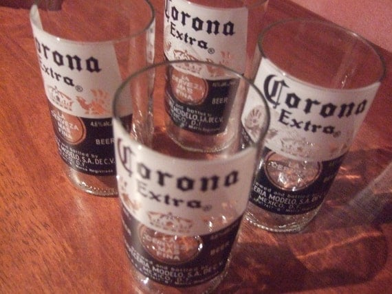 Set of 4 corona glasses by bottleoh on etsy for How to make corona glasses