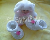 Knitted baby shoes for 0-6 months /9cm /3,5 inch -christining- new