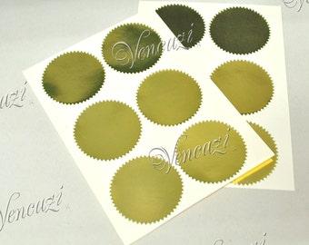 """2"""" Serrated Rd Sticker Label for Embosser- Golden 24pcs (Buy 5 packs plus FREE GIFT)"""