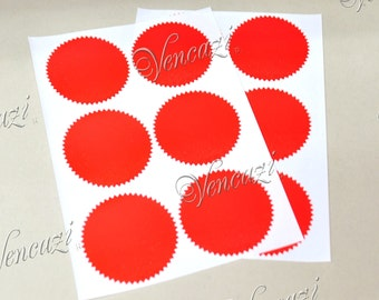 "2"" Serrated Rd Sticker Label for Embosser- Red 24pcs (Buy 5 packs plus FREE GIFT)"