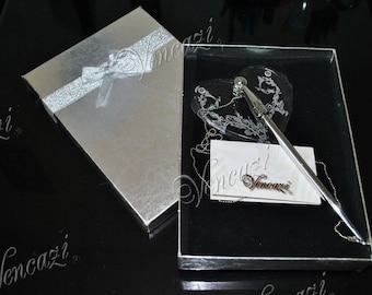 Elegant Filigree Crystal Heart Pen Stand Wedding Decor Desk Pen Set (plus Gift)