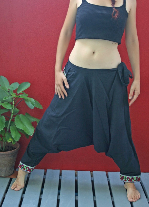 Unisex Harem Pants/Trousers Black Cotton and Embroidery