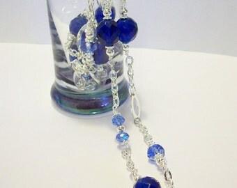 Cobalt Blue Czech Glass Necklace