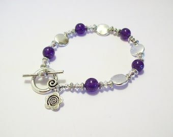Purple Amethyst and Silver Coin Bracelet