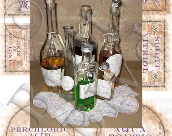 Precut Apothecary Alchemy Bottle Labels 2