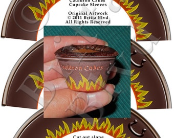Cauldron Cakes Cupcake Sleeves - Digital Download