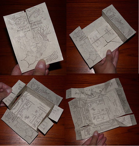 Original Artwork Wizard Marauders Map Hand-folded on Parchment
